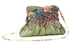 Mary Frances Moss Green Purple & Multicolor Beaded Crossbody Bag #MaryFrances #MessengerCrossBody
