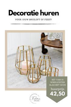Set van 15 geometrische windlichten te huur. Deze gouden blikvangers maken ieder feestje nóg mooier. Klik op de afbeelding voor meer informatie.