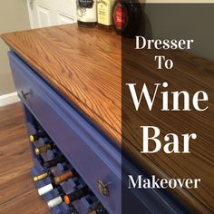 Do you have an old dresser that is looking for a new lease on life? How about turning your old, drab dresser into a funky wine bar. Basement Makeover, Expensive Wine, Wine Cabinets, Old Dressers, Italian Wine, Wine Storage, Storage Ideas, Wine Cellar, Furniture Makeover