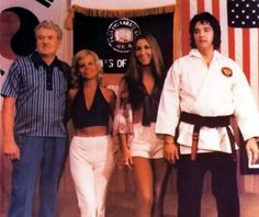 At Kang Rhee's karate studio in Memphis on July 23, 1973. With Vernon and Dee Stanley, and Linda Thompson.