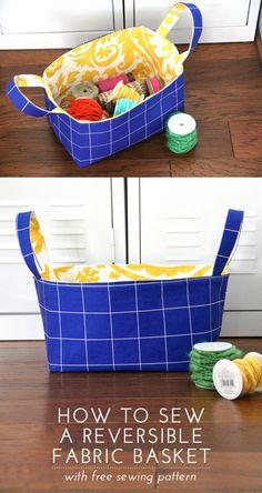 Free sewing pattern for reversible fabric sewing basket #DIY
