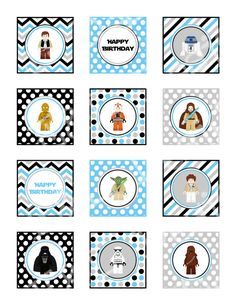 Lego Star Wars 2' Cupcake Toppers and Wrappers, Lego Birthday Party, Instant Download,Printable