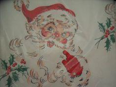 VINTAGE SS KRESGE FIVE & DIME STORE CREPE PAPER CHRISTMAS SANTA CLAUS TABLECLOTH | eBay