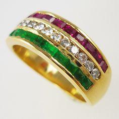 Ruby, diamond and emerald triple-row, half-eternity ring