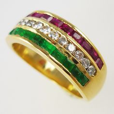Ruby, diamond and emerald triple-row, half-eternity ring
