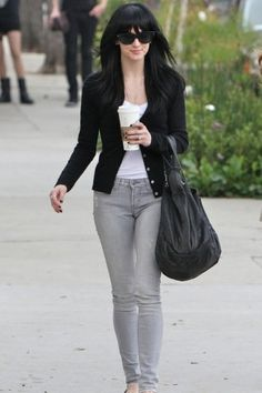 gray jeans combination