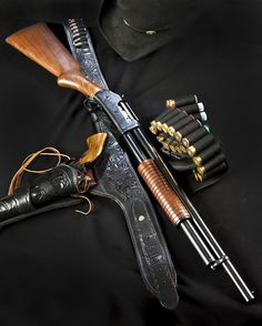 Winchester Model 1897 12 gauge shotgun and Colt revolver (Photo Credit: D Richardson) Weapons Guns, Guns And Ammo, Airsoft Guns, Bushcraft, Pump Action Shotgun, Cowboy Action Shooting, Survival, The Lone Ranger, Fire Powers