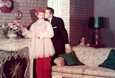 Lucy and Desi on the original set of I Love Lucy