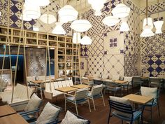 Azzurro Restaurant by Andrin Schweizer Company is a restaurant located inside the exhibition building in Zurich.  Read more: http://www.designrulz.com/design/2015/09/7-examples-of-restaurant-interior-designs-with-oriental-touch/#ixzz3l86OEJH8  Follow us: @designrulz on Twitter | designrulz on Facebook