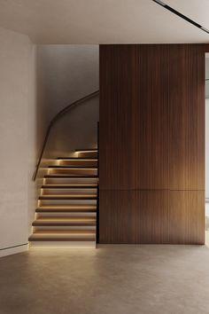 "Project ""The Rakhine house"", design of apartment, zen interior style, photo Interior Staircase, Lobby Interior, Staircase Design, Architecture Details, Interior Architecture, Contemporary Architecture, Casa Retro, Zen Interiors, Interior Styling"