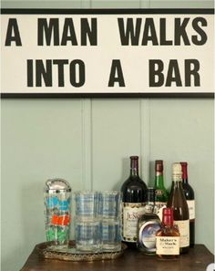 Cute idea for a banner in there, make a mini bar out of his old headboard? Yes, yes, yes!