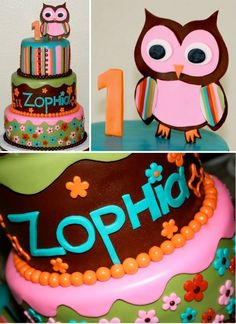 Pink, Green, Turquoise, Orange with Brown Stripes & Funky Flowers Owl Cake (Zophia)