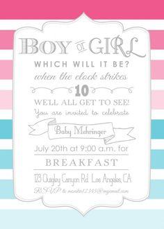 Printable gender reveal invitation, cupcake or stud muffin invite ...