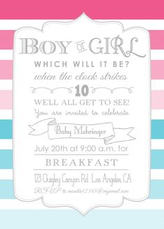 free printable gender reveal invitations - Google Search