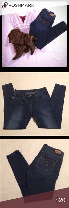 """Levi's juniors skinny jeans Levi's juniors skinny jeans size 11 regular length. Worn only once. Excellent condition! Cut tag out of back because it was really uncomfortable. I'm 5'4"""" and these came right past my ankles. Would look awesome with a pair of boots, flats or high heels! Levi's Pants Skinny"""