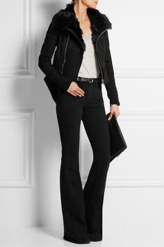 Black suede and shearling Zip fastening through front 100% leather (Lamb); trim: 100% shearling (Lamb); sleeve lining: 91% viscose, 9% polyamide; padding: 100% polyester; sleeve panels: 100% wool Dry clean