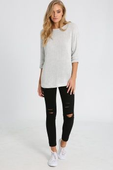 BOAT NECK LOOSE KNITTED TOP