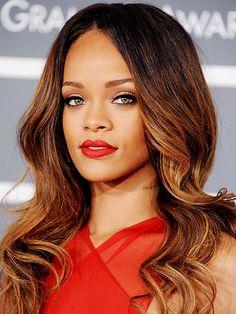 lovin Rihanna's long, tousled honey-highlighted hair