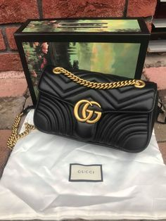 cce870150c047c Details about AUTHENTIC GUCCI MARMONT MATELASSE LEATHER SMALL SHOULDER BAG  BLACK