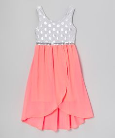 Look at this #zulilyfind! Pogo Club Silver & Coral Lola Hi-Low Tank Dress - Girls by Pogo Club #zulilyfinds