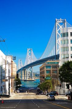 * Bay Bridge seen from San Francisco streets Usa San Francisco, San Francisco Girls, San Francisco Travel, San Francisco California, California Dreamin', Mission Bay San Francisco, Places To Travel, Places To Visit, Nova Orleans