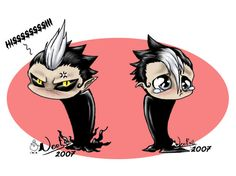 Two sides of Arystar Krory, chibi style.