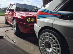 Lancia Delta HF Integrale Martini Racing 6 and Red Subaru Rally, Rally Car, Maserati, Racing Car Design, Hatchbacks, Hatchback Cars, Delta Force, Martini Racing, Lancia Delta