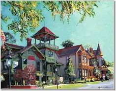 Old Town San Diego, painting by RD Riccoboni. Historic Victorian heritage homes.