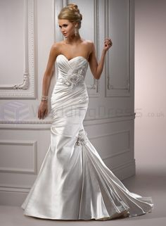 satin one shoulder wedding dresses with strap sweetheart | Pixy Wedding