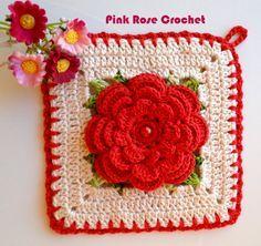\ PINK ROSE CROCHET /: Pega Panelas Quadrado com Flor Vermelha