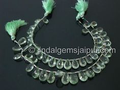 Green Amethyst Double Concave Cut Pear Gemstone Beads.