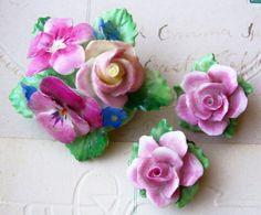 Vintage Crown Staffordshire signed bone china floral demi parure