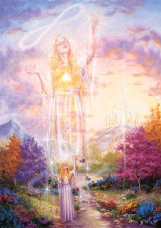 Visionary Art: by Mario Duguay - 'Never Alone' Mario, Angel Pictures, Angel Cards, Visionary Art, Oracle Cards, Love And Light, Mother Earth, Auras, Fantasy Art