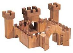 Kinderkram Mini Castle Set, Wooden Knights and Horses and Accessories - Blueberry Forest Toys