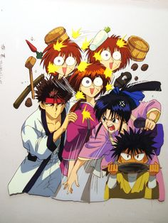 Poor Kenshin, he's become the shield against Kaoru's cooking rage...XD