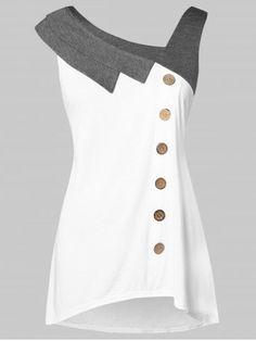 Women Plus Size Skew Neck Contrast Trim Asymmetric Tank Top Buttons Detail Contrast Casual Tank Top Ladies Summer Top White Plus Size Tank Tops, Crop Tops, Fashion Seasons, Long Tops, Plus Size Women, Blouse Designs, Plus Size Outfits, Plus Size Fashion, Ideias Fashion