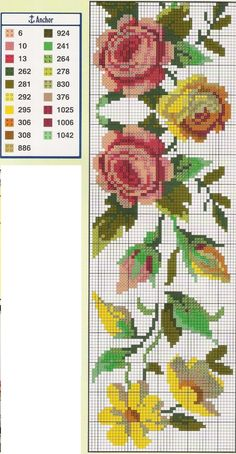 Cross Stitch Rose, Cross Stitch Borders, Cross Stitch Flowers, Cross Stitch Designs, Cross Stitch Embroidery, Embroidery Patterns, Hand Embroidery, Cross Stitch Patterns, Beads Pictures