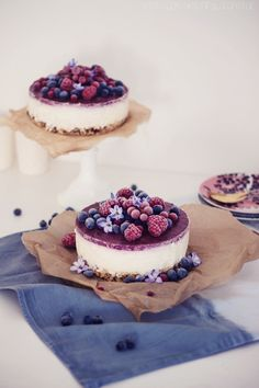 creamy cheesecake with frozen berries.