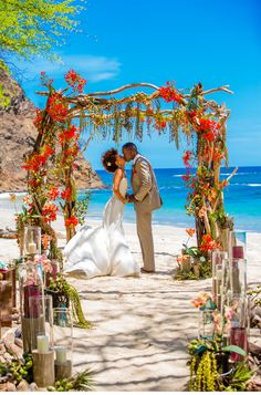 Our Muse - Malachite-Inspired Tropical Photoshoot - Be inspired by malachite in Destination I Do magazine's styled Costa Rican wedding - costa rica, wedding, styled, destination i do, ceremony, vibrant, ocean, beach, ceci new york, votive, laser-cut, wood, aisle, canopy, red, blue, green, orange, yellow, sand