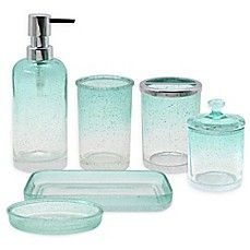 Capri Bubble Glass Bath Ensemble Collection in Aqua