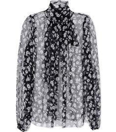 Dolce & Gabbana Black Silk Floral-Print Tie-Neck Blouse