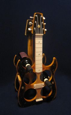 electric Guitar Wine rack Ebony Amber Pine