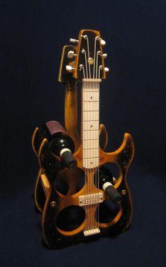 Wooden guitar wine racks