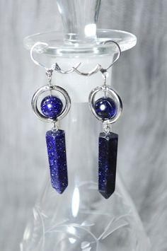 Blue Goldstone Earrings . Blue Goldstone Point Dangle Earrings . Chakra Healing Earrings . Reiki Stone Earrings . Blue Dangle/Drop Earrings by StarshineInnovations on Etsy