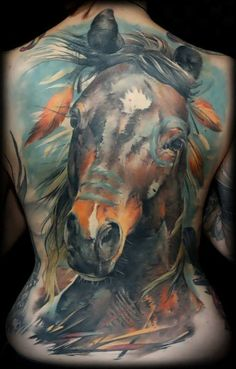 Tattoo Portrait Horse Motif Back  - http://tattootodesign.com/tattoo-portrait-horse-motif-back/  |  #Tattoo, #Tattooed, #Tattoos