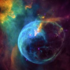 Space Image for sale: Colorful Bubble Nebula, wonderful blue, green and orange tones.  High quality digital painting with professionally enhanced clarity and colors, more vibrant and vivid than in the original Hubble photo. Posters and Prints available, click through and get inspired.