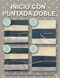 Sólo una puntadita...: Empezamos a coser: Puntada doble para evitar el nudo de inicio Louis Vuitton Damier, Knit Crochet, Home Improvement, Textiles, Knitting, Sewing, Storage, Fabric, Tips