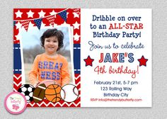All Star Sports Birthday Invitation  by The Trendy Butterfly  #sportsbirthday #football #soccer #baseball