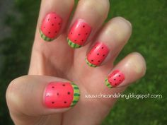 watermelon nails....tips for a bunch of different fruit nails, including cute strawberries