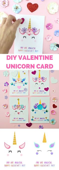 DIY Unicorn Valentine Cards. Printable template available.